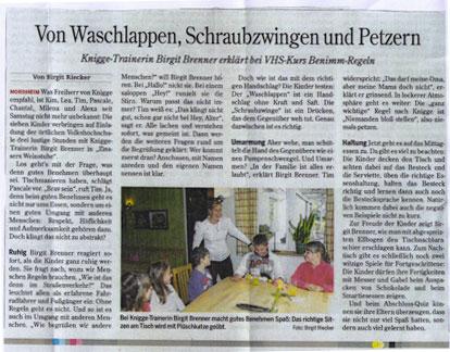 Birgit Brenner | Artikel in der Heilbronner Stimme zum Thema 'Kinder-Knigge' vom April 2012